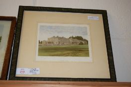 PRINT OF A STATELY HOME IN BLACK WOODEN FRAME