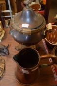 LARGE COPPER WATER JUG AND METAL URN WITH WOODEN HANDLES