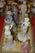 TRAY CONTAINING SERIES OF PORCELAIN FIGURINES INCLUDING COALPORT, TRANQUIL DREAMS, COALPORT TRANQUIL