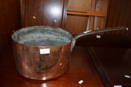 VINTAGE LARGE COPPER SAUCEPAN WITH CAST METAL HANDLE, 30CM DIAM