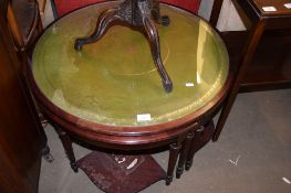 REPRODUCTION CIRCULAR NEST OF TABLES WITH GLASS AND GREEN TOOLED INSET, 74CM DIAM