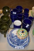 GROUP OF CERAMIC WARES, BLUE POTTERY BOWLS ETC