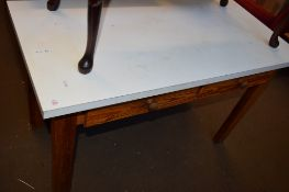 PINE TWO DRAWER SIDE TABLE WITH FORMICA TOP, 118CM WIDE