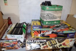 TWO BOXES OF SCALEXTRIC GAMES WITH VARIOUS ACCESSORIES INCLUDING TRACK ETC
