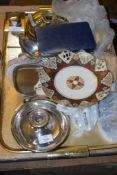 PLATED WARE CANDLESTICK, TRAY WITH PLATED WARE ITEMS AND FLATWARES