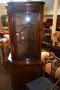 REPRODUCTION MAHOGANY GLAZED TOP FULL HEIGHT CORNER CUPBOARD WITH INLAID BASE, 183CM HIGH