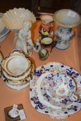 MIXED CERAMIC ITEMS INCLUDING AN ENGLISH PORCELAIN SUCRIER, LATE 19TH CENTURY CUP AND SAUCER AND