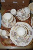 WEDGWOOD PART TEA SET IN THE LITCHFIELD PATTERN COMPRISING SIX CUPS, SAUCERS, MILK JUG, SUGAR