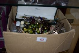 BOX CONTAINING WRIST WATCHES AND VARIOUS COSTUME JEWELLERY