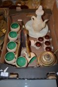 BOX CONTAINING WOODEN ITEMS AND BRASS MIDDLE EASTERN STYLE COFFEE POT