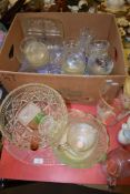 GLASS WARES INCLUDING LARGE CUT GLASS FRUIT BOWL AND OTHER CUT GLASS DISHES AND BOWLS