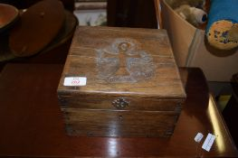 OAK ECCLESIASTICAL OR NAUTICAL TYPE BOX, 23CM WIDE