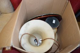 BOX CONTAINING MODERN TABLE LAMP, DECORATIVE ITEMS ETC