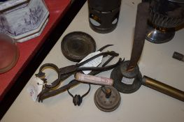 VARIOUS METAL IMPLEMENTS INCLUDING EMBER TONGS FOR LIGHTING A PIPE, BLACKSMITH MADE, A BELL WITH