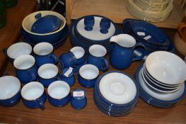 QUANTITY OF BLUE GLAZED DENBY DINNER WARES, INCLUDING PLATES, SIDE PLATES, SERVING DISHES, JUG, CUPS