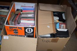 TWO BOXES OF RECORDS AND TAPES