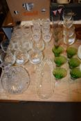 MISCELLANEOUS GLASSES INCLUDING A LARGE SHIPS STYLE DECANTER, CUT GLASS BOWL, SIX WHISKY TUMBLERS