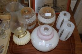 LAMP SHADES AND GLASS OIL LAMP