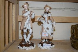 PAIR OF LATE 19TH CENTURY CONTINENTAL PORCELAIN FIGURES OF A GENTLEMAN AND A LADY