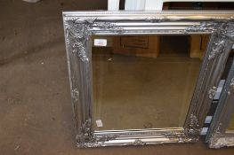 MODERN WALL MIRROR WITH SILVER PAINTED FRAME, 54CM WIDE