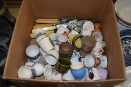BOX CONTAINING CHINA THIMBLES AND SOME FLATWARES