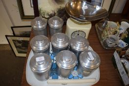 SALTER SET OF SCALES AND QUANTITY OF ALUMINIUM STORAGE JARS AND COVERS