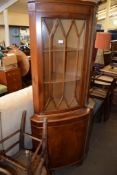 REPRODUCTION YEW EFFECT FULL HEIGHT CORNER CUPBOARD WITH GLAZED TOP, 180CM HIGH