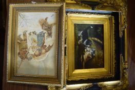 REPRODUCTION PICTURE OF KITTENS IN BLACK AND GILT FRAME AND FURTHER OIL PAINTING ON BOARD OF A