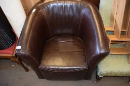 MODERN LEATHER UPHOLSTERED TUB CHAIR