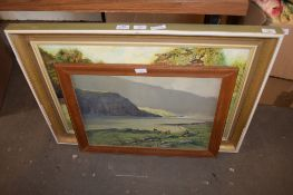 OIL ON BOARD OF A HORSE AND FURTHER PRINT OF A HIGHLAND SCENE