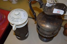 PLATED METAL WATER JUG AND COVER TOGETHER WITH A GORDONS FOOD WARMER AND NIGHT LIGHT