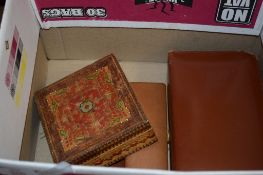 BOX CONTAINING LEATHER SHAVING SET, MISCELLANEOUS KEYS ETC