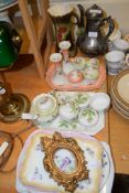 CERAMIC ITEMS, MAINLY DRESSING TABLE SETS COMPRISING TWO VASES AND SMALL POTS WITH COVERS, ALSO