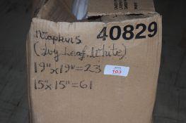 """Box: white ivey leaf Napkins (23 x 19"""" sq and 61 15"""" sq)."""