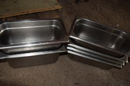 Six stainless steel Bain Marie Pans.