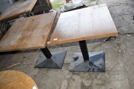 Pair of matching square Bar or Restaurant Tables, with square metal column supports.
