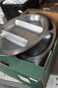 Box: lge qty (approx 20) two-division stainless steel Vegetable Dishes, together with approx 4
