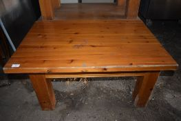 Four rustic stained pine low Bar or Coffee Tables, each on heavy square frame.