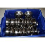 Crate: 42 stainless steel Sundae Dishes.