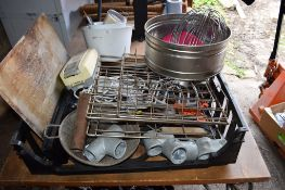 Crate: qty various Kitchen Sundries, including Mixer Whisk attachment, Sieve, etc.