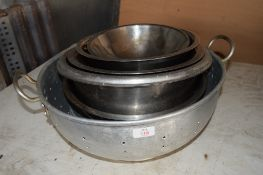 Qty various stainless steel Mixing Bowls, Colander, etc.