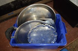 Crate: various Stainless Steel Serving Platters.