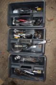 Three Crates containing various Kitchen Implements, including Skimmers, Whisks, Ladles, etc.