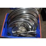 Crate: large qty various stainless steel oval Serving Platters, plated Trays, etc.