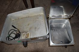 Electric Chip Scuttle / Warmer, t/w two large Bain Marie bases.