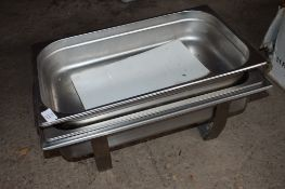 Stainless steel rectangular Chafing Dish and two large stainless steel rectagular Serving Dishes.