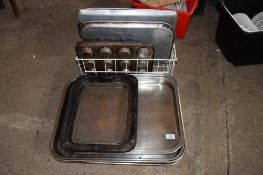Lge qty various Baking Trays (stainless steel and aluminium).