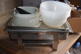 Qty various Kitchne Sundries, incl qty plastic Mixing Bowls, stainless steel rectangular Chafing