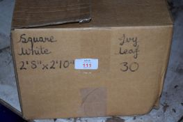 Box: 30 white ivy leaf Cloths, each approx 2'8 x 2'10