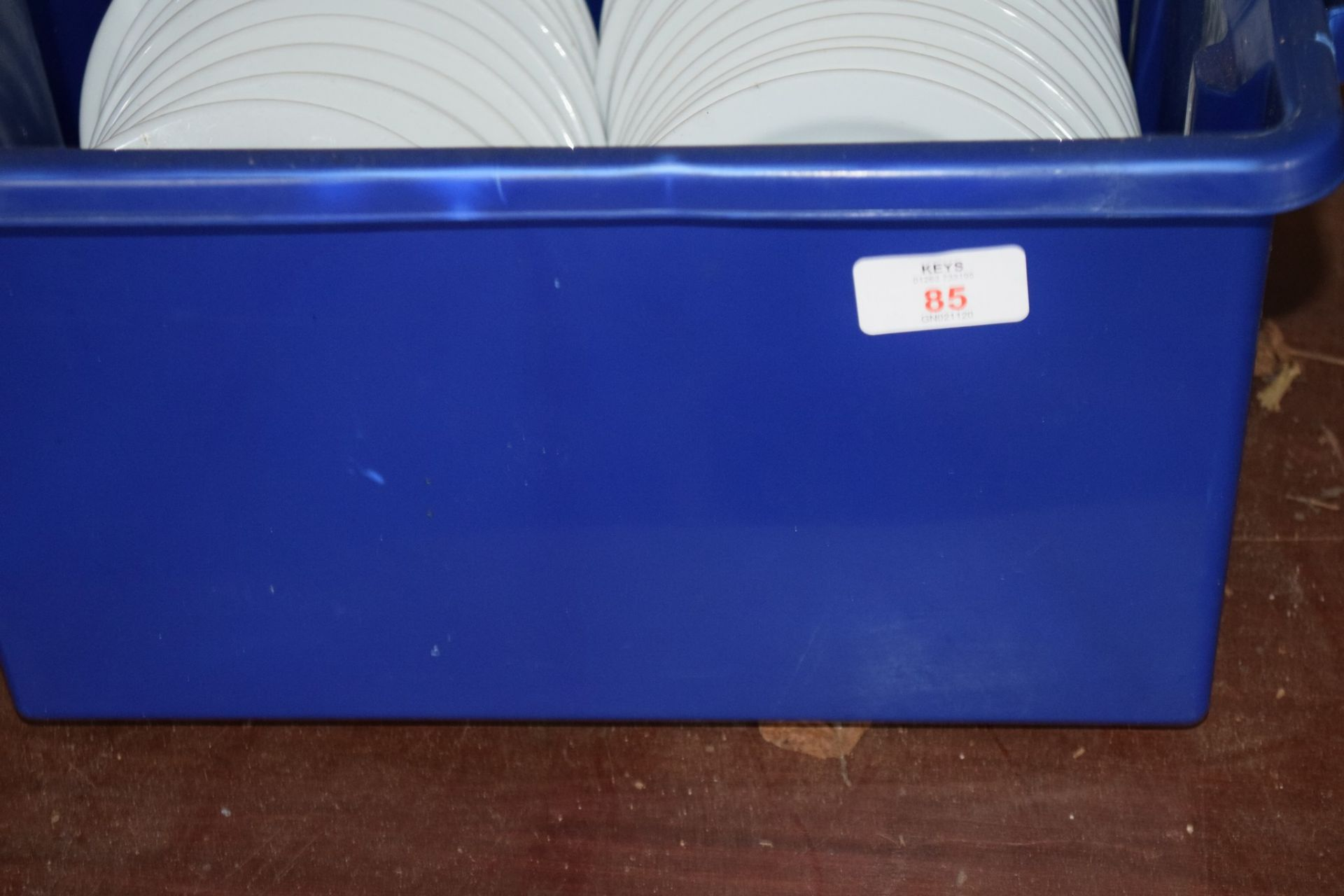 Crate: approx 30 white Side Plates.